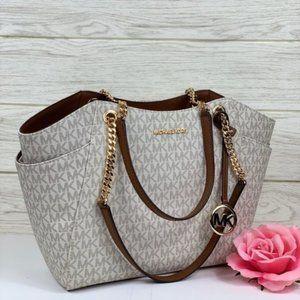 ❤️Michael Kors JST LG Chain Shoulder Bag Vanilla